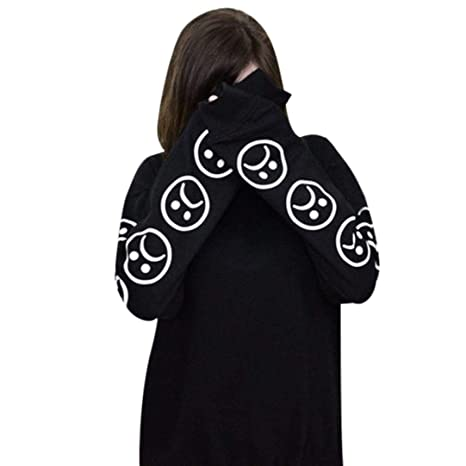 Amazon.com: Women Hoodie Sweatshirt Daoroka Cotton Long Sleeve Sad Faces Emoticon Print Autumn Winter Pullover Blouse Tops: Clothing