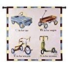 "Fine Art Tapestries ""Car Wagon Tricycle Scooter"" Wall Tapestry"