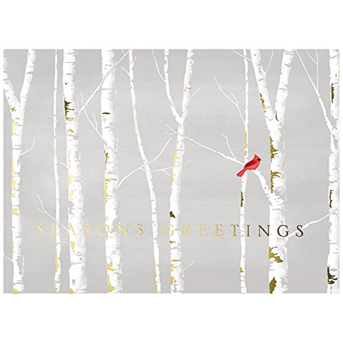 JAM Paper Blank Christmas Card Sets - Cardinal Tree Line Christmas Cards - 25 Cards & Envelopes per Pack - Treeline Pack