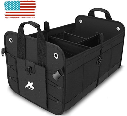 Car Trunk Organizer-- H-Zonealph Portable Collapsible Car Trunk Storage Organizer Heavy Duty waterproof Trunk Cargo Organizer Storage Bin and Carrier for Car /Truck /SUV /Van (NEW Version)