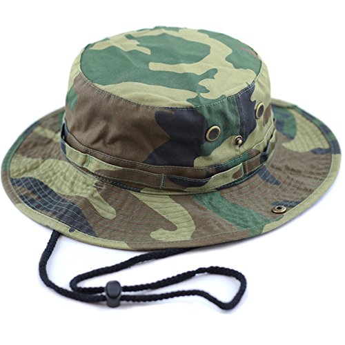 Unisex Summer Outdoor Packable Camouflage Bucket Hat (S/M, Woodland camo)]()
