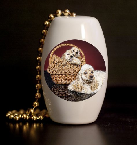 Cocker Spaniels Porcelain Fan / Light Pull