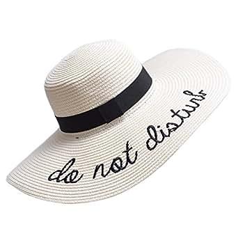 PardoBed Womens Embroidery Floppy Bucket Summer Kentucky Derby Sun Hat Lettering Straw Hat Beige