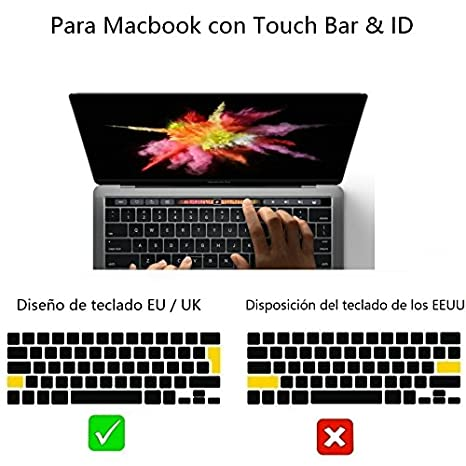 i-Buy La cubierta del teclado de silicona para el MacBook Pro 13 / 15 Con Touch Bar y Touch ID[teclado QWERTY español]- Oro: Amazon.es: Electrónica