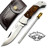 Best.Buy.Damascus1 Rose Wood 7.5″ Handmade Stainless Steel Folding Pocket Knife with Back Lock 100% Prime Quality – Premium Manufacture – Excellent Design in Stainless Steel-A Priceless Gift