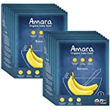 Amara Organic Baby Food, Banana, Healthy Baby & Infant Food, Travel Size, Mix Fresh with Breastmilk, Formula or Water - Stage 1 (14 Pouches)