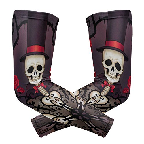 Arm Sleeves Skull Rose Mens Sun UV Protection Sleeves Arm Warmers Cool Long Set Covers