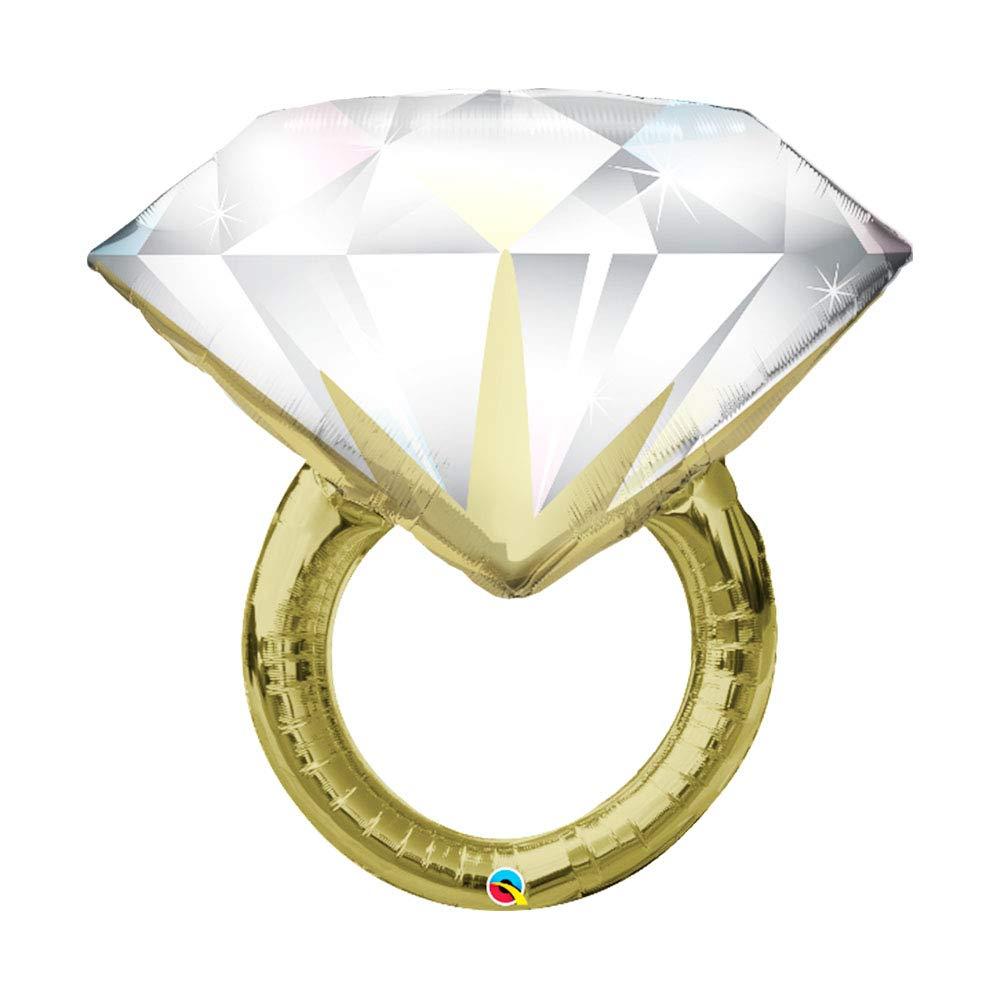 Set of 2 Sparkling Diamond Ring Big Rock Jumbo 37 Foil Engagement Party Bridal Shower Balloons