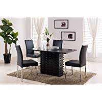 Kings Brand Black Finsih Wood Wave Design Dining Room Kitchen Table & 4 Chairs