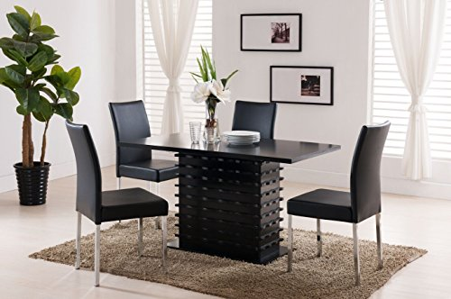 Kings Brand Black Wave Design Dining Room Kitchen Table & 4 Chairs