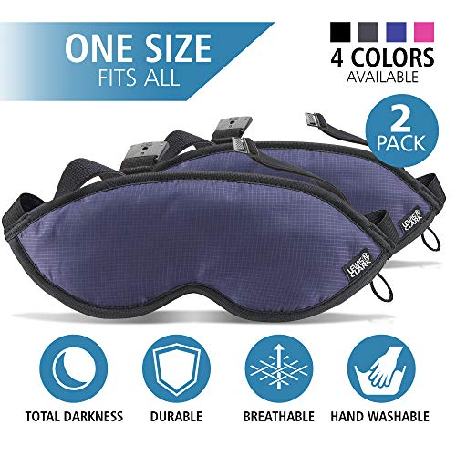 Lewis N Clark Comfort Eye Mask  Sleep Aid to Block Light for Travel Hotel Airport Insomnia  Headache Relief with Adjustable Straps 2 Pack Blue