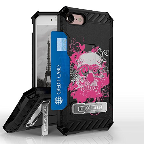 Iphone 8, Iphone 7 Case, Trishield Durable Rugged Armor Phone Cover With Detachable Lanyard Loop And Built in Kickstand Card Slot - Pink Ghost Skull from Beyond Cell
