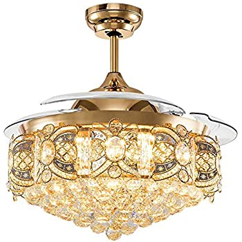 Orillon Crystal Retractable Ceiling Fan Light Modern