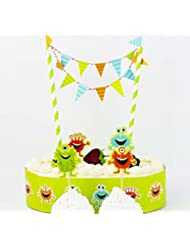 Colorful Cartoon Cake Bunting Banner Topper Picks Wrapper Decorating Kits Monsters Party Supplies Favors Baby Boy Shower Birthday Decorations