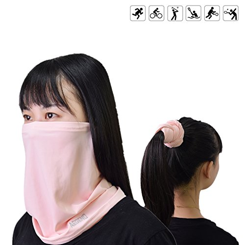 Balaclava Aegend Summer Thin Face Mask Buff for Women Men Youth for Motorcycle Running Cycling Fishing Outdoors Neck Scarf or Lightweight Sunproof Headwear, 1 Piece ,White,Yellow&Pink