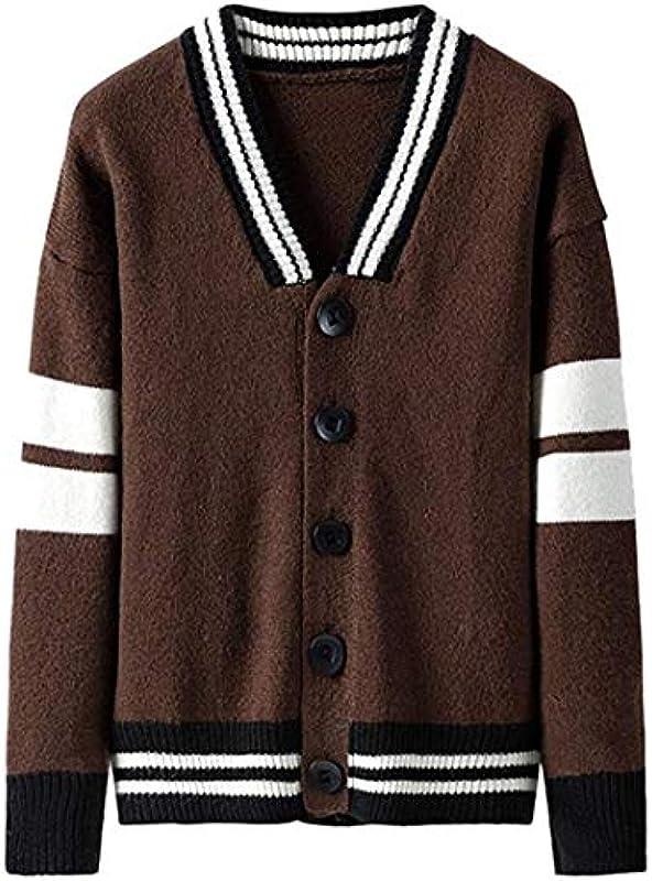 IGJMOD Men's Sweater Cardigan Casual Knit Single-Breasted Jacket Stripe Button Long Sleeve Jacket Outwear Tops: Odzież
