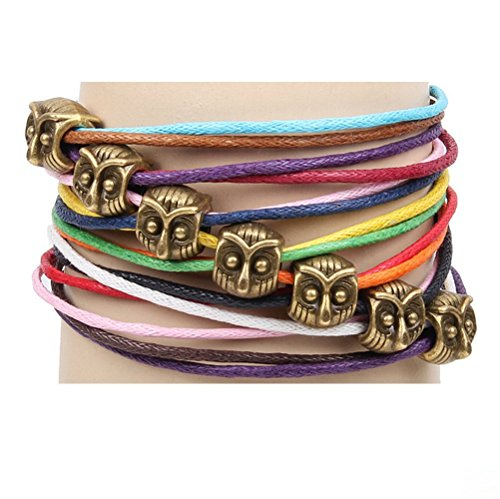 Winter's Secret Bronze Owl Pattern Hand Braided Diy Color Wax Rope Ancient Wrap Bracelet (Switch Plate Cd Rope)