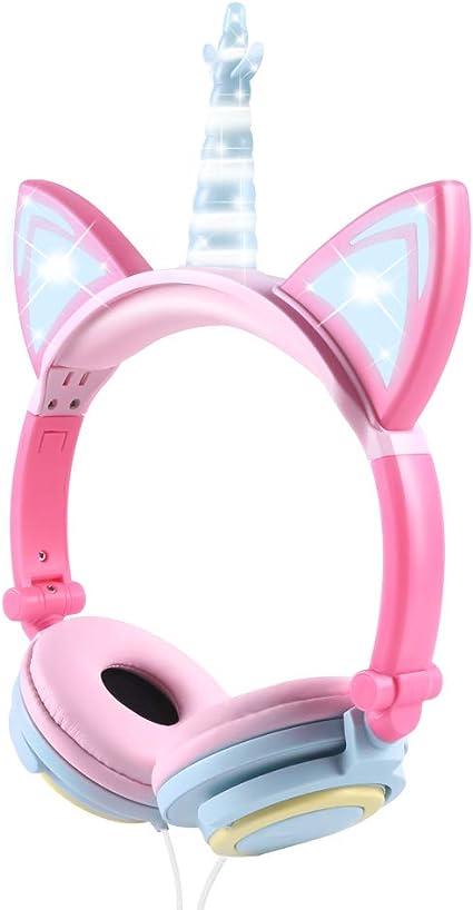 Auriculares Unicorn para niños, Orejeras con Orejas de Gato Que Brillan intensamente con LED, Auriculares con Cable para niños de 85dB Volume Limited,