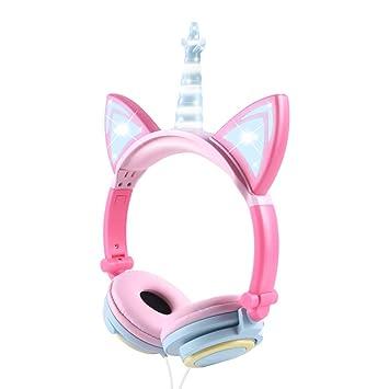 Auriculares Unicorn para niños, Orejeras con Orejas de Gato Que Brillan intensamente con LED, Auriculares con Cable para niños de 85dB Volume Limited, ...