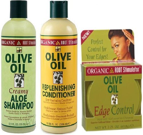 Price comparison product image ORS Olive oil Trio Set (Shampoo, Conditioner, and Edge Gel) Plus 3 Free of Apple EYE Pencil Color: Sky Teal