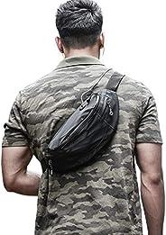 Large Black Waist Bag Fanny Pack for Men Waterproof Women Belt Bag Pouch Hip Bum Bag Chest Sling Bag with Head