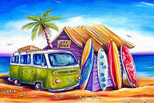 DIY 5D Diamond Painting Kit for Adult Kids, Full Drill Surf Beach Embroidery Painting Dotz for Home Wall Decor Painting Arts Craft