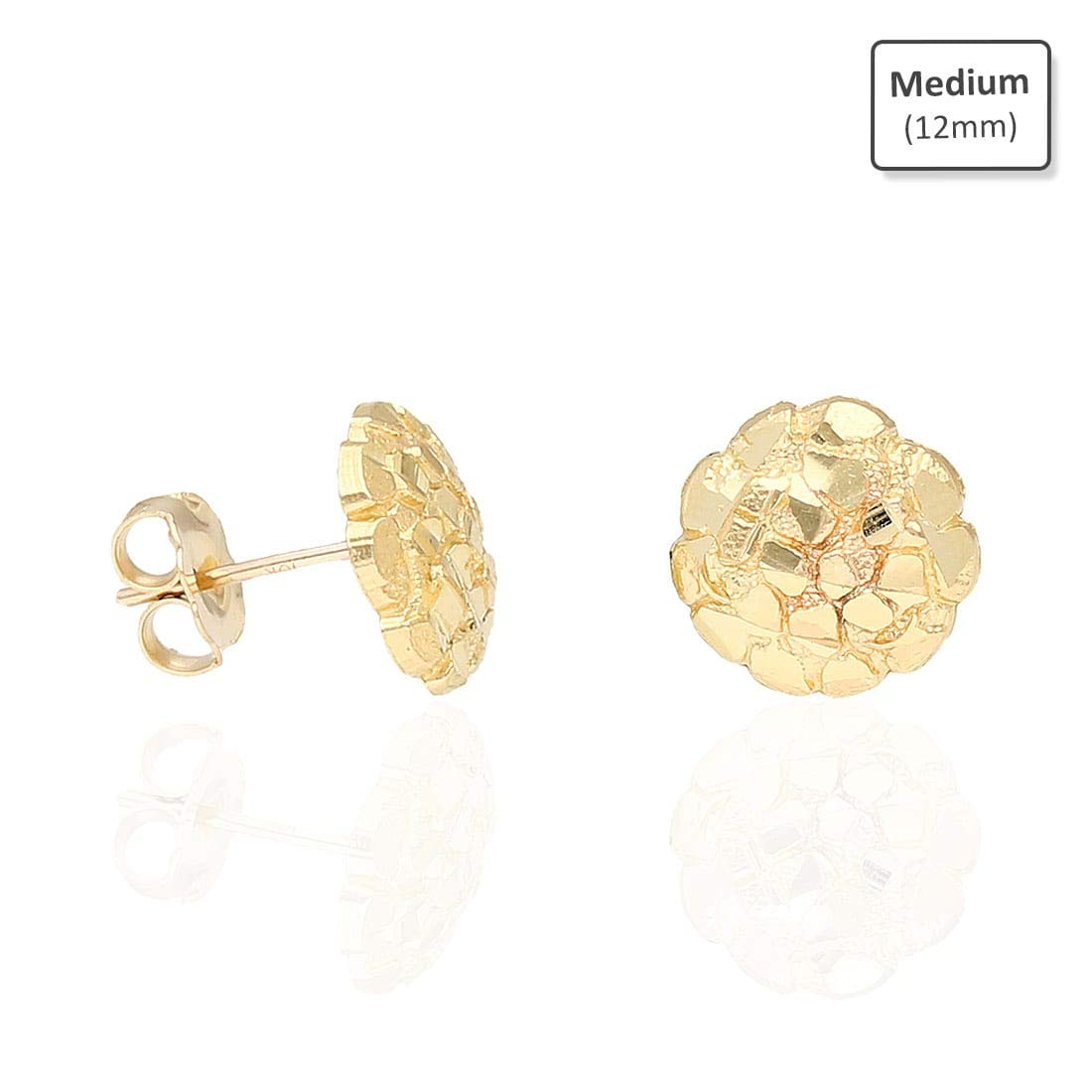 10K Solid Yellow Gold Diamond Cut Nugget Pushback Stud Earrings Extra Large WJD Exclusives 49766-extra-large