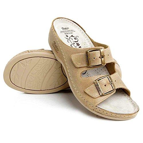 Batz FC02 Sandalias Zuecos de cuero para mujer Beige