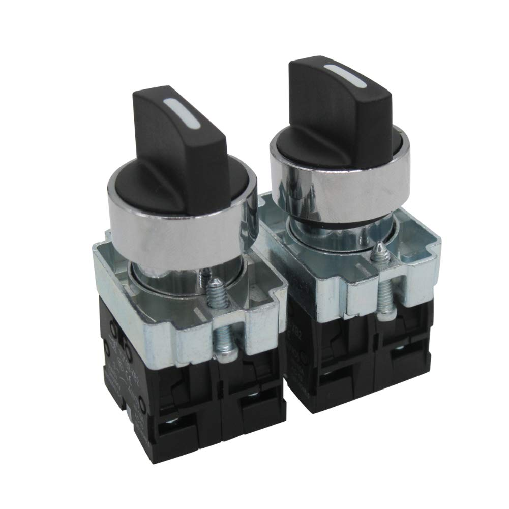 TWTADE / 2Pcs 22mm 2 NO 3 - Positions Maintained Latching Rotary Select Selector Switch 440V 10A (Quality Assurance for 3 Years) BX2-20X