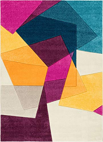 "Well Woven Strata Squares Blue Purple Fuchsia Yellow Orange Modern Geometric Hand Carved 5x7 (5'3"" x 7'3"") Area Rug Easy to Clean Stain & Fade Resistant Thick Soft Plush"