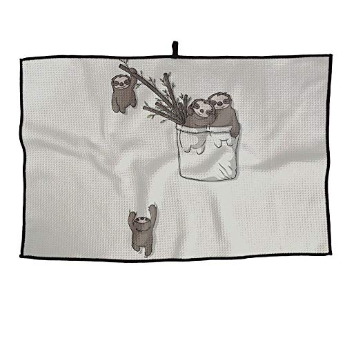 SNMHILL Pocket Sloths Tree Grid Cooling Portable Golf Towel Ice Sports Microfiber 23x14 Inches Travel Towel Chilly Player ()