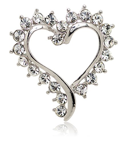 Akianna Silver-tone Swarovski Element Crystals Valentine Heart Pin Brooch (Silver Heart Pin)