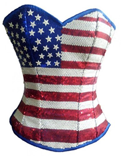 USA Flag Satin Sequins Gothic Burlesque Bustier Waist Training Overbust Corset