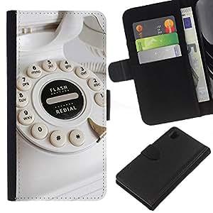 Sony Xperia Z1 / L39h / C6902 Modelo colorido cuero carpeta tirón caso cubierta piel Holster Funda protección - Phone Rotary Old School White Dial Call