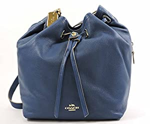 COACH Women's Matte Soft Grain Turnlock Tie Bucket Bag LI/Denim Cross Body