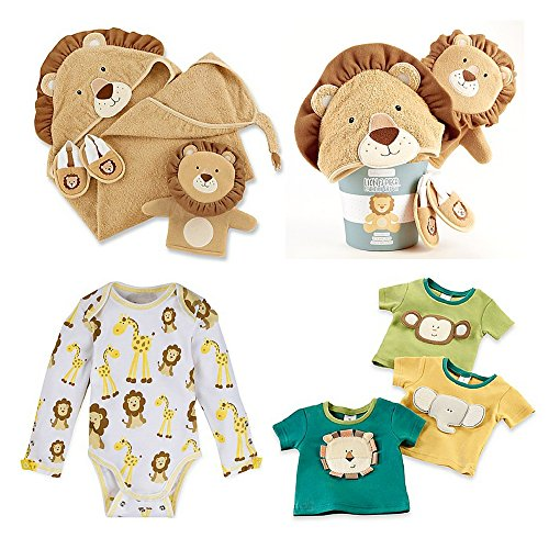 Baby Aspen 3-Piece Lion Bathtime Set, Baby Aspen 3-Pack Safari Friends Tiny T-Shirt, MiracleWear Giraffe and Lion Bodysuit in Gold, Size 0-6M, Baby Bath Set, Baby Boy Sleepwear, Baby Tshirts