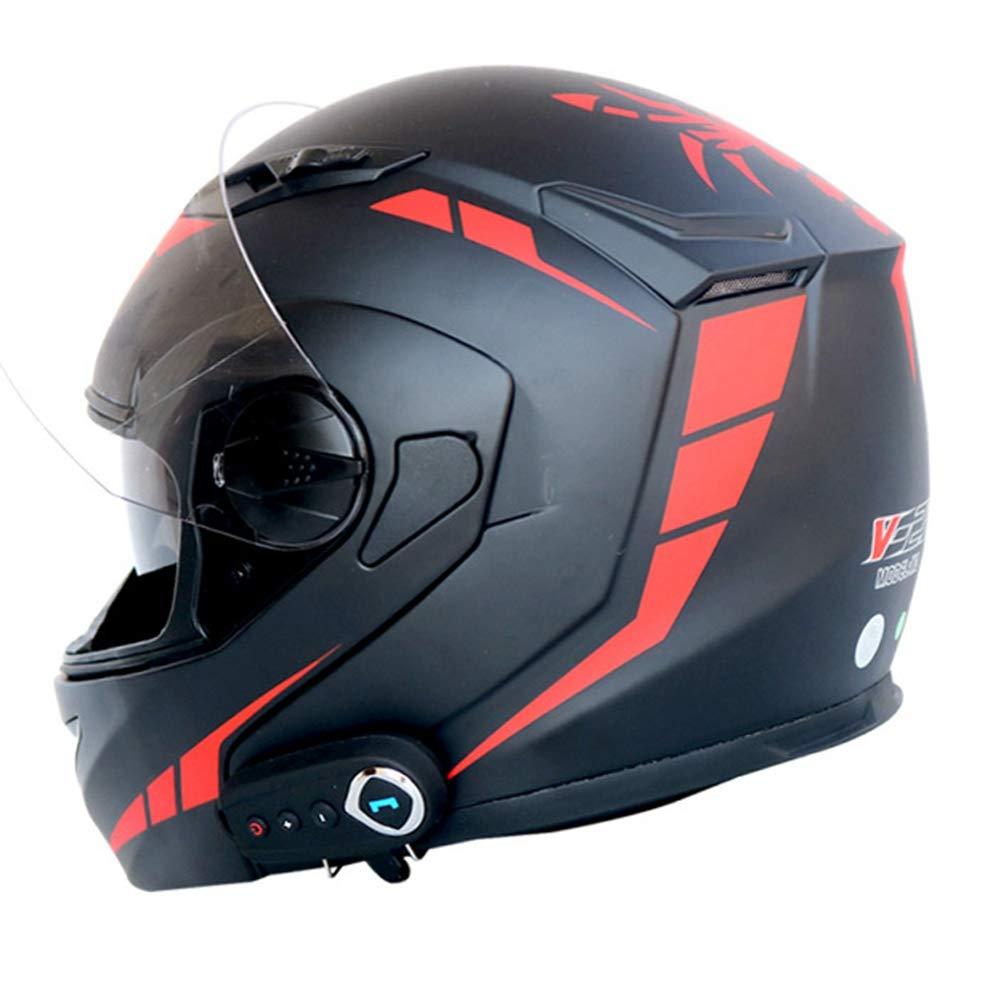 Bluetooth Flip Up Moto Casque Anti-bu/ée Double Objectif Casque De Moto St/ér/éo Son Casque De Motocross avec FM Antifogging Casque Moto