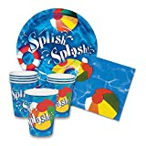 Summer Splash Pool Themed Party Supply Pack - Plates, Napkins, Cups for 16 Guests