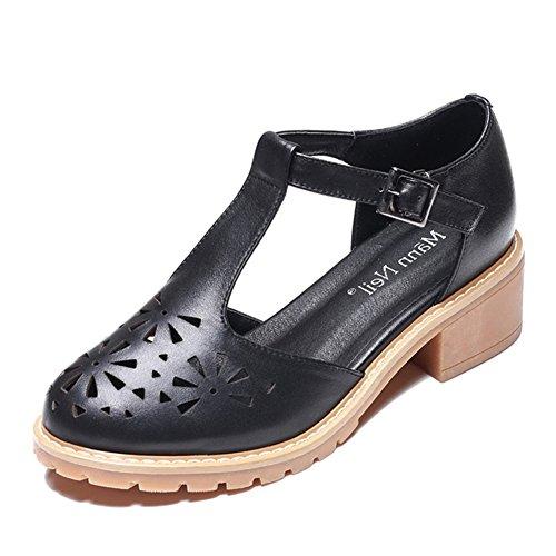 Individuales Verano De QIDI Color Zapatos Talón EU39 Materiales Mujer Negro Moda Sandalias Tamaño Temporada TPR De Medio UK6 Negro wFFqt7H