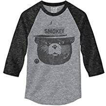 Retro Smokey the Bear Design on Grey & Black Onyx 3/4 Sleeve Raglan Jersey