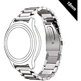 Antube 18mm Women Men Solid Stainless Steel Watch Band Replacement Bracelet Strap for Huawei Watch, LG Watch Style, Nokia Withings Steel HR 36mm Smartwatch (Silver)