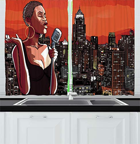 Ambesonne Afro Decor Kitchen Curtains by, Jazz Singer on New York Roof Cityscape Urban Music Popular Town Illustration, Window Drapes 2 Panels Set for Kitchen Cafe, 55W X 39L Inches, ()