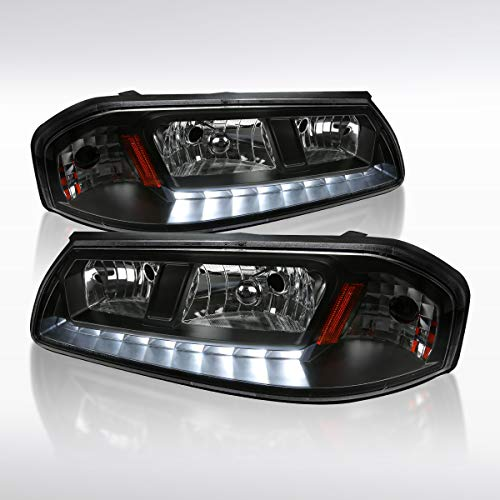 Autozensation For Chevy Impala LED Headlights Black Clear Pair Left+Right