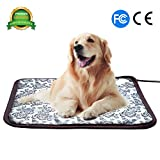 Heated Dog Bed - Pet Heating Pad Cat Heating Mat Waterproof Pets Heated Bed Adjustable Dog Bed Warmer Electric Heating Mat with Chew Resistant Steel Cord (17.7x17.7, Flower)