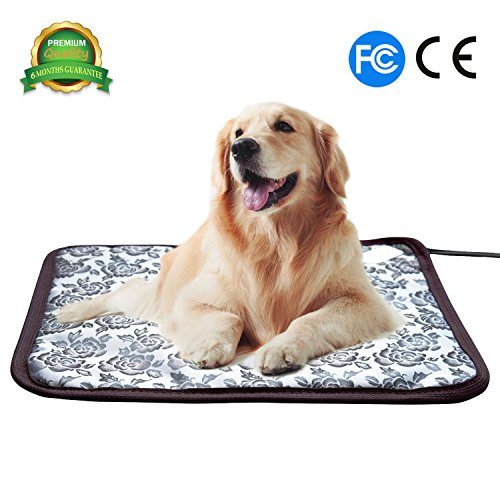 Pet Heating Pad Cat Heating Mat Waterproof Pets Heated Bed Adjustable Dog Bed Warmer Electric Heating Mat with Chew Resistant Steel Cord (17.7x17.7, Flower) from BohoFarm