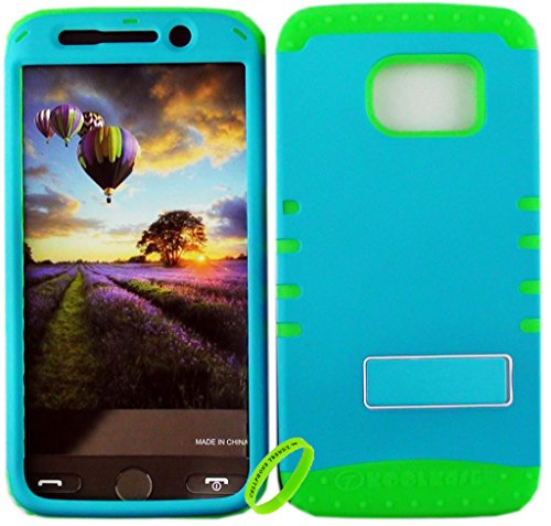 Cellphone Trendz Dual Layer Soft Hard Hybrid High Impact Protective Case Cover for Samsung Galaxy S6 Edge - Flurescent Blue Snap Design Hard Case on Lime Green Skin