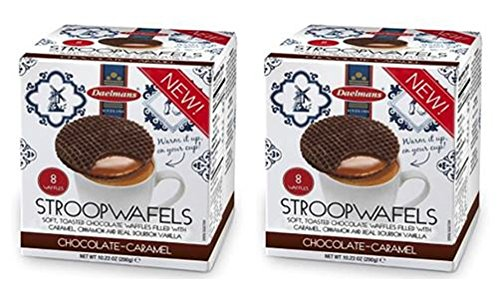 Daelman's Chocolate Caramel Stroopwafels 10.23 Ounce Cube (8 Waffles) - Pack of 2