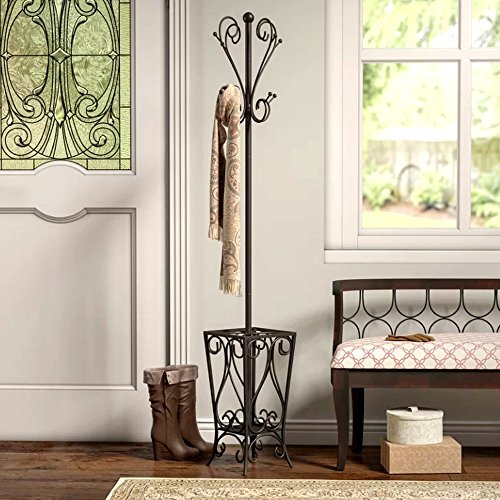 Scrolled Coat Rack and Umbrella Stand, Corner Metal Freestanding Entryway Rustic Contemporary Coat Hanger & E-Book