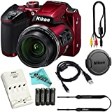 Nikon COOLPIX B500 16MP 40x Optical Zoom Digital Camera Bundle includes Camera, 4 AA Rechargeable Batteries + Charger MH-73, Cables and More (Red)