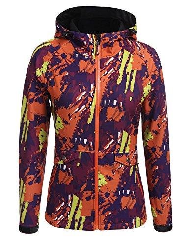 Zeagoo Femme Veste de Pluie A Capuche Veste Impermable Coupe-Vent Motif Camouflage Pour Printemps Orange et Jaune